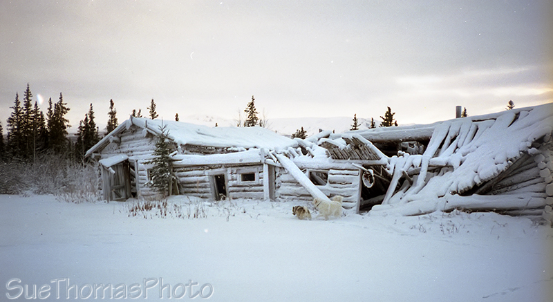 Winter view of old lodge at Silver City, Yukon