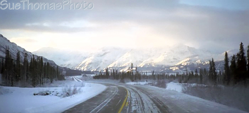 Alaska Highway along the south side of Kluane Lake, westbound, Yukon