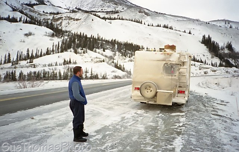 Motorhome in winter at Sheep Mountain, Yukon
