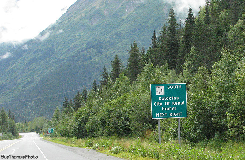 Sign pointing to Kenai, Homer & Soldotna, Alaska