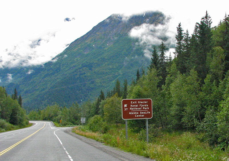 Sign to Exit Glacier, Kenai Fjords, Alaska