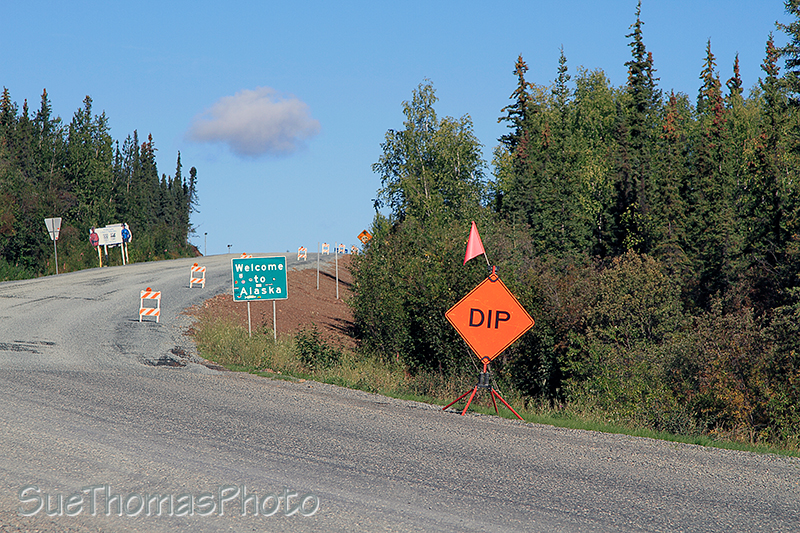 Sign at Yukon Alaska border on Alaska Highway