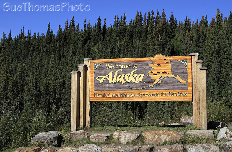 Welcome to Alaska sign on the Alaska Highway