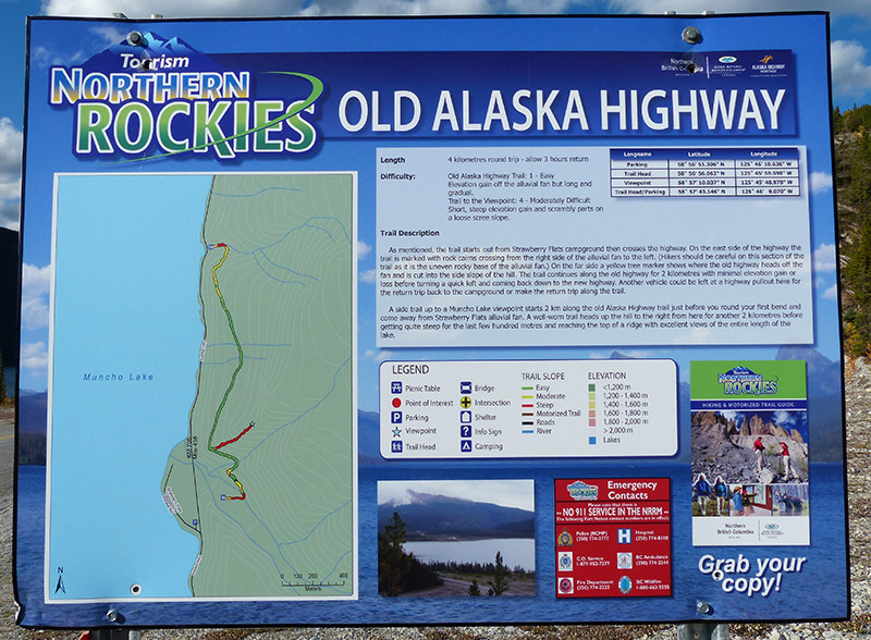 Sign for the Old Alaska Highway trail at Muncho Lake