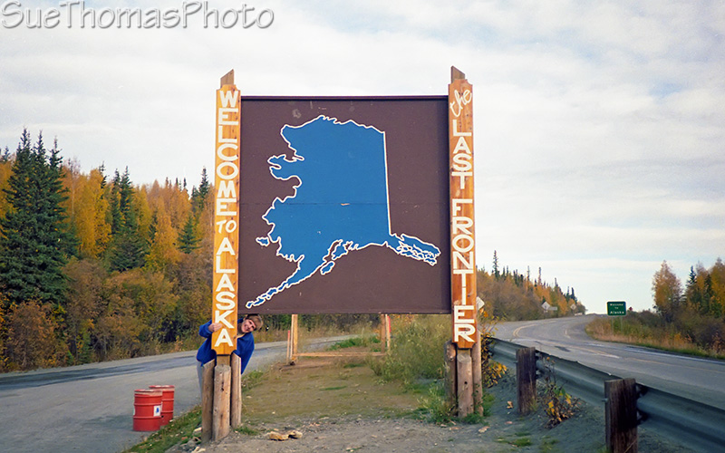 Welcome to Alaska sign at border on Alaska Highway