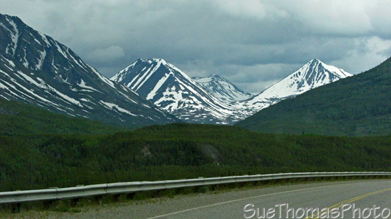 Driving the Alaska Highway south of Rancheria Falls, Yukon