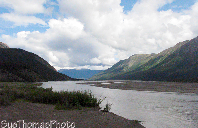 Looking east along the Donjek River, Yukon