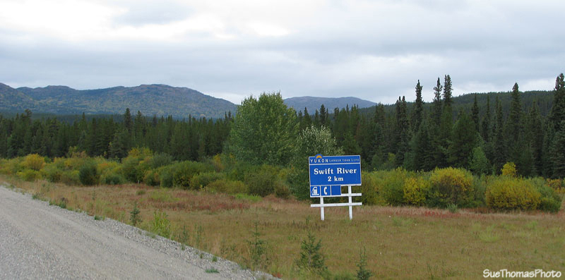 Swift River lodge sign on the Alaska Highway