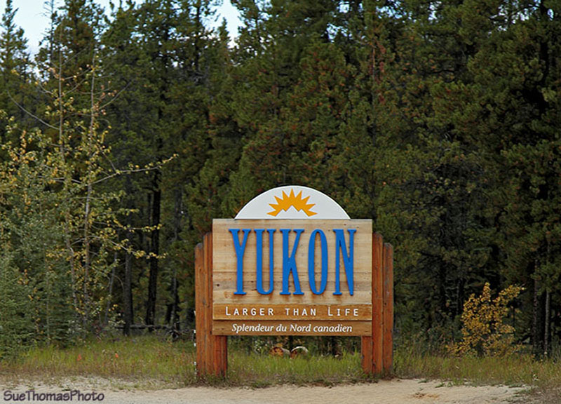 Yukon sign on Alaska Highway