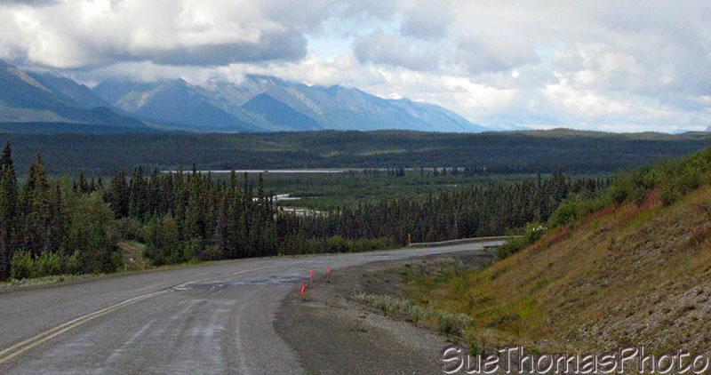 Descending to the Donjek River on the Alaska Highway