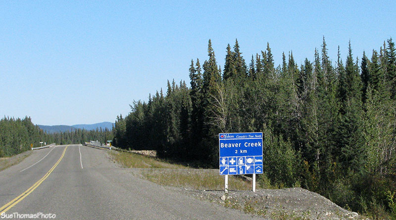 Sign to Beaver Creek, Yukon on Alaska Highway