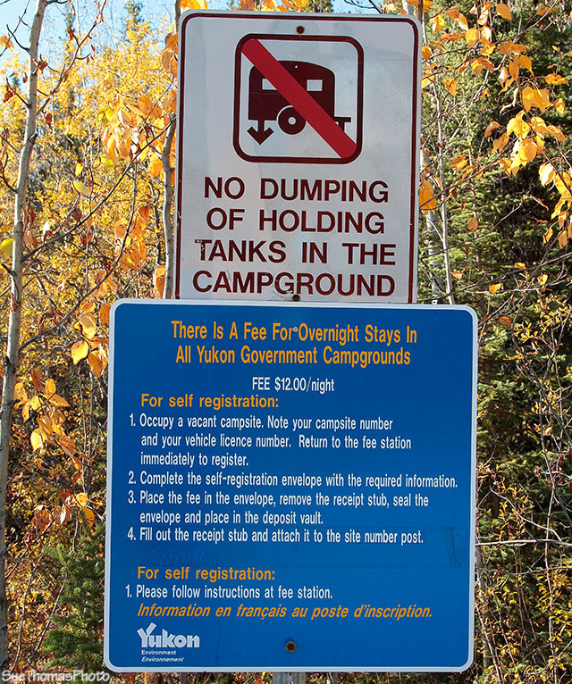 Campground sign in Yukon Territory