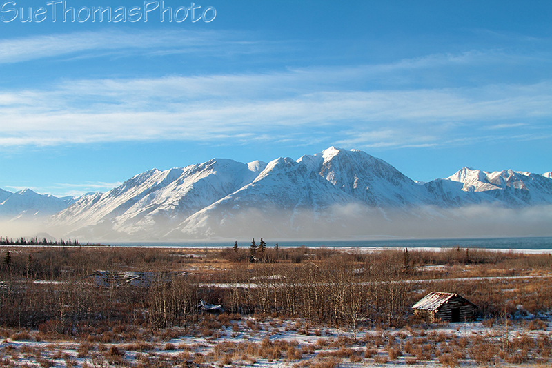 Kluane Lake in winter at Silver City