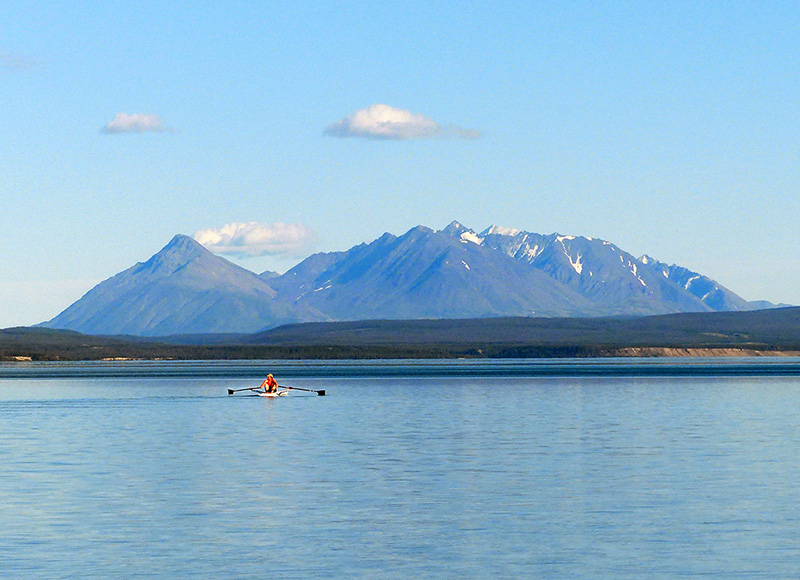 Flat calm Kluane Lake, good for rowing