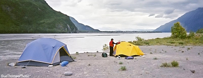 Tent at confluence of Alsek River and Tatshenshini River