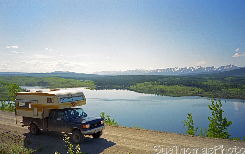 Truck and Camper on the Campbell Highway, Yukon