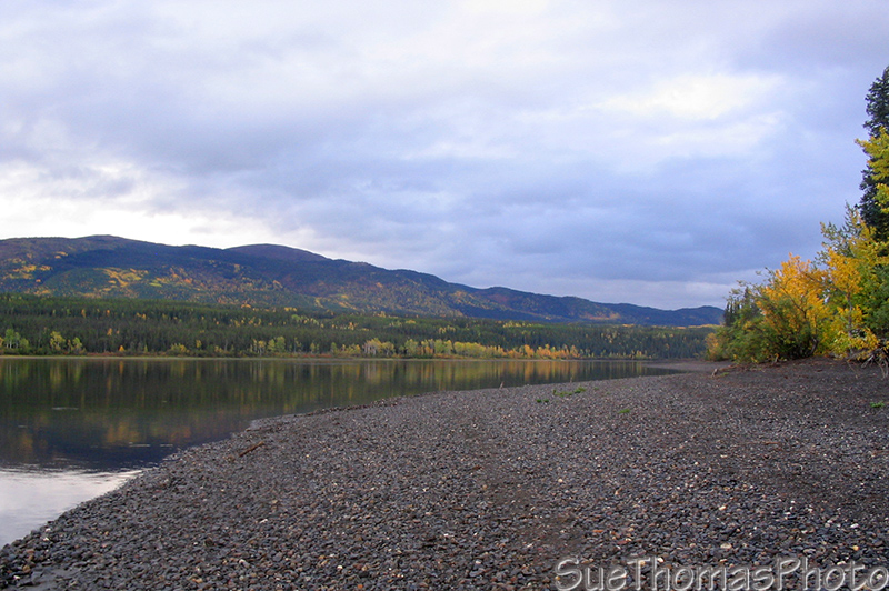 Frances Lake shoreline in the fall