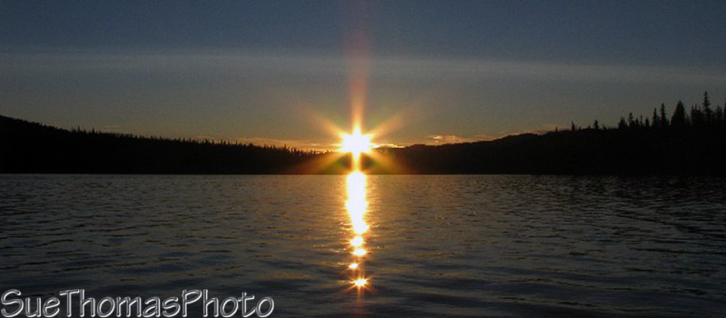 Midnight sun at Frenchman Lake, Yukon