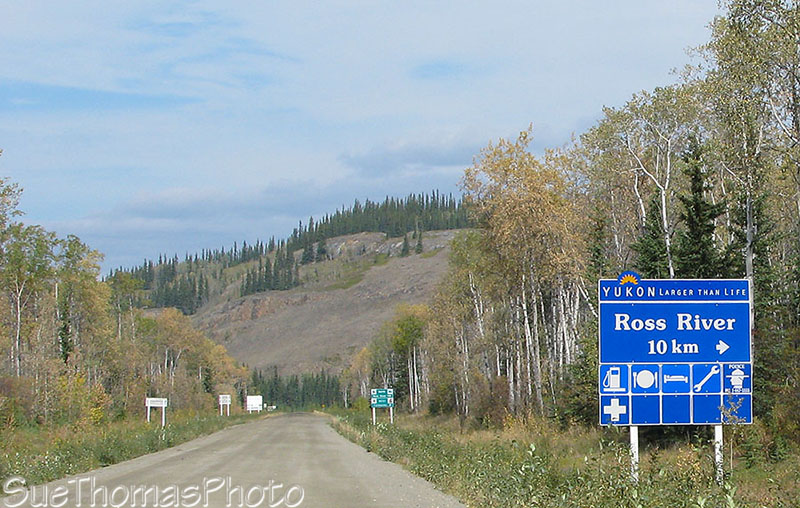 Sign for Ross River turnoff on Campbell Highway
