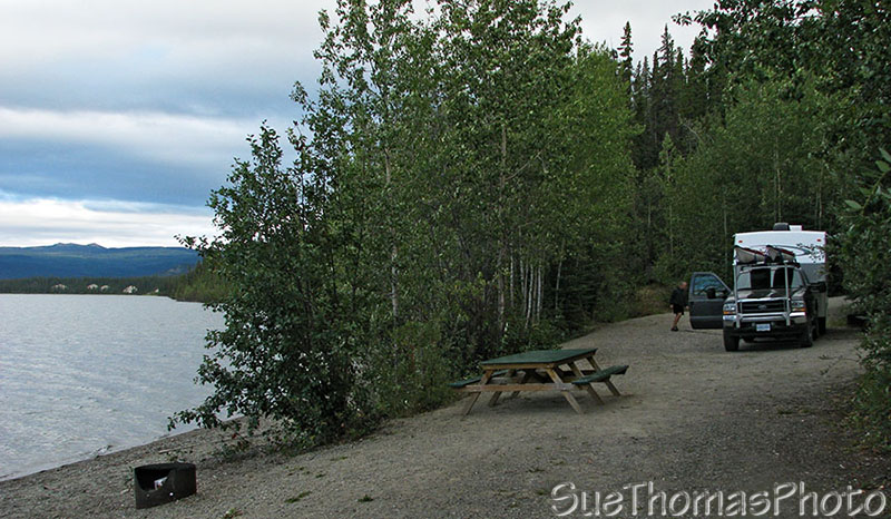 Campsite at Little Salmon Lake on the Campbell Highway in Yukon