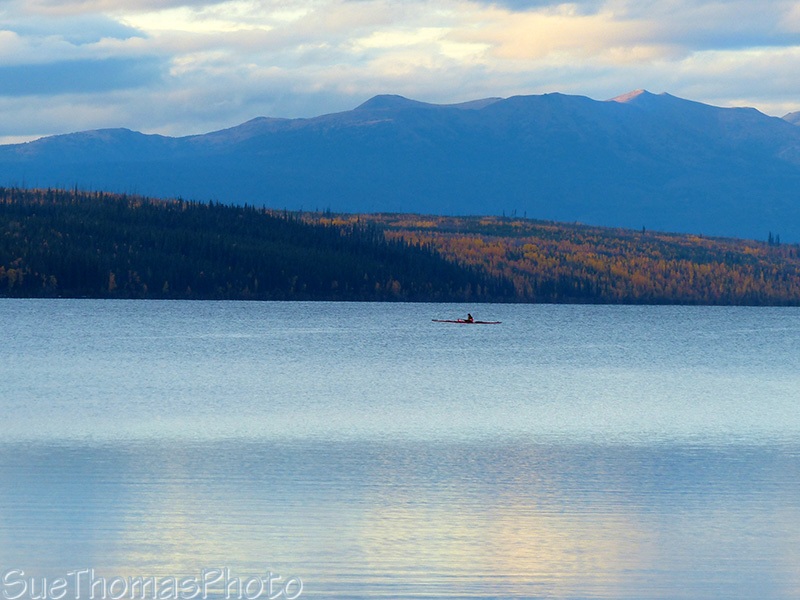 Kayaking on Simpson Lake, Yukon