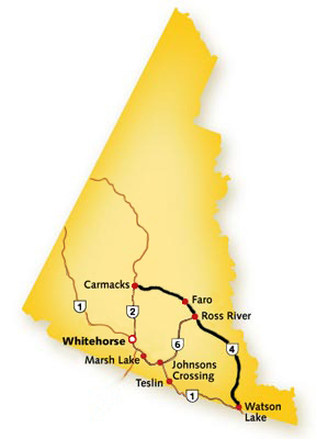Campbell Highway in Yukon - Map