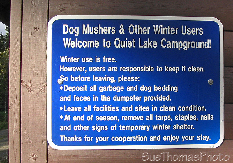 Sign at Quiet Lake campground for dog mushers