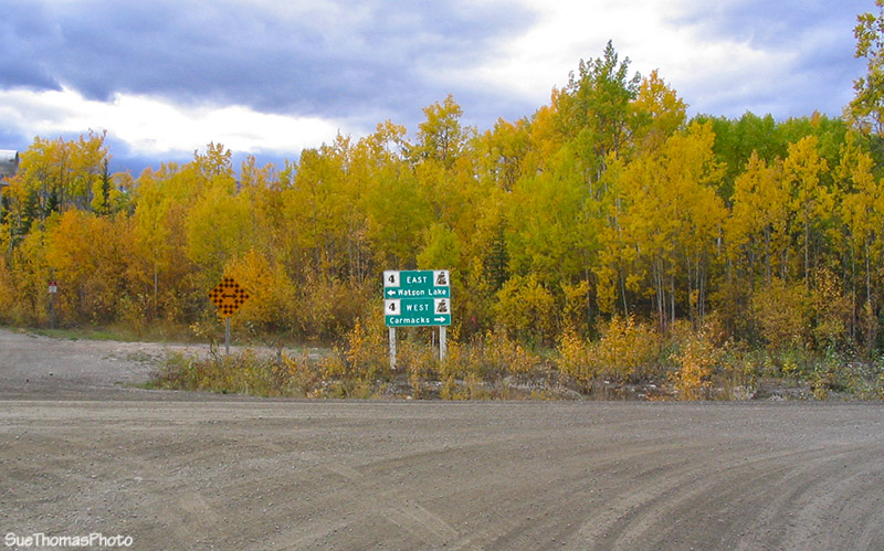 Sign at north end of South Canol Road, on the Campbell Highway