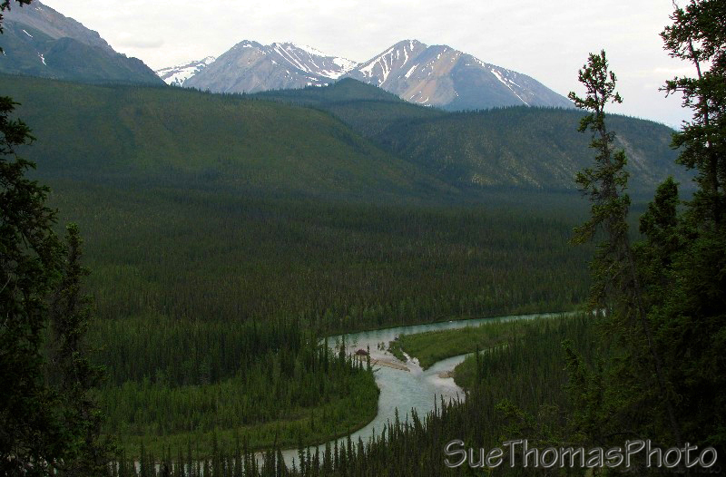 Lapie River viewed from the South Canol Road above the valley