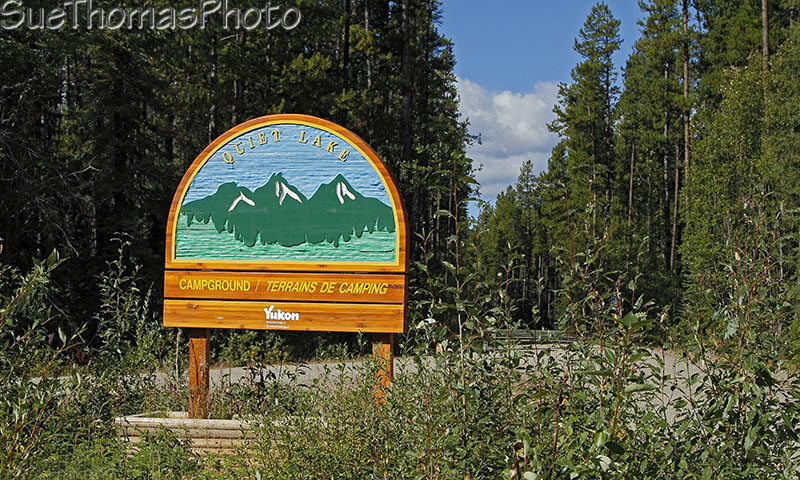 Campground sign at Quiet Lake, South Canol Road, Yukon