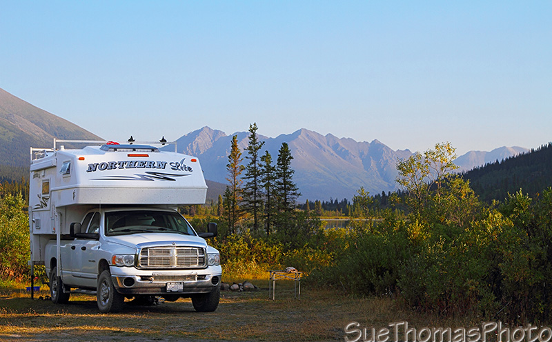 Camping at Lapie Lake recreation site on the South Canol Road in Yukon