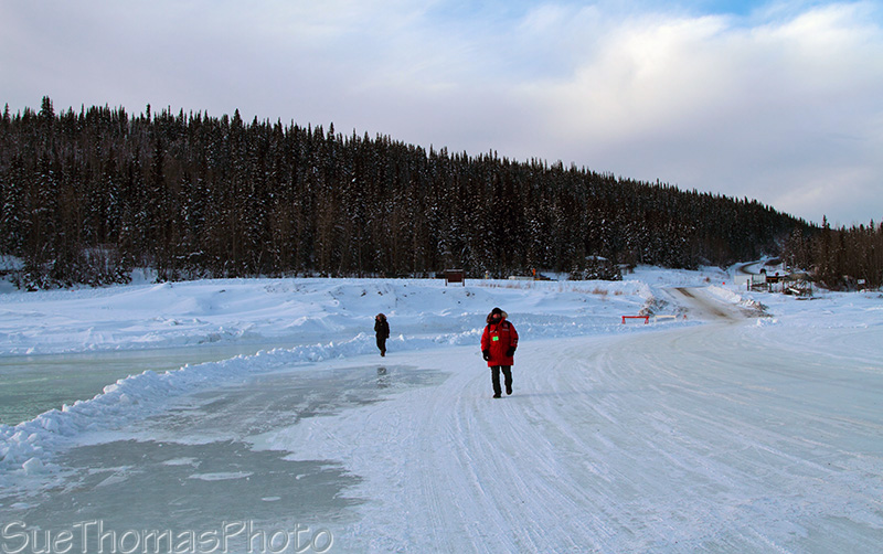 Yukon Quest in Dawson City - ice bridge on the Yukon river