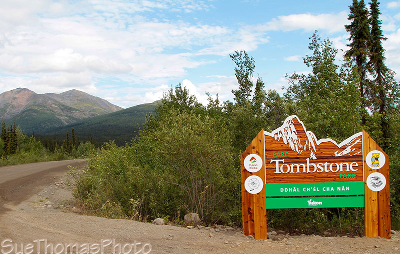 Tombstone park sign on the Dempster Highway in Yukon