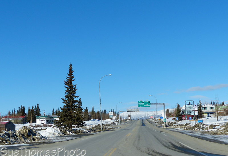 Sign at the junction of the Haines Road and Alaska Highway