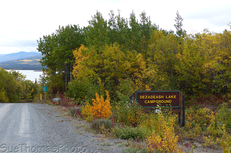 Sign for Dezadeash lake campground