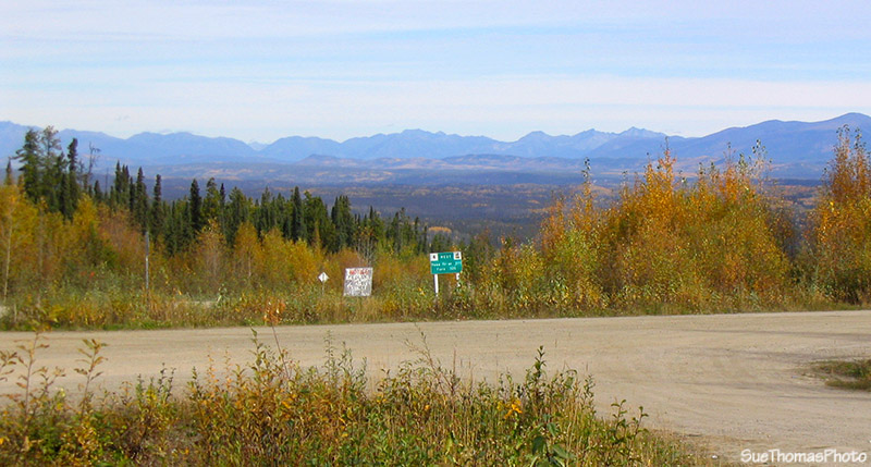 Sign at the junction of Campbell Hwy and Nahanni Range Road in Yukon