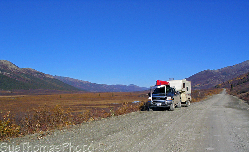 Nahanni Range Road in Yukon with Truck and Fifth wheel