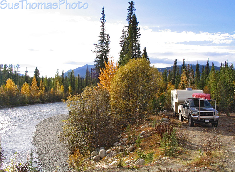 Campside beside Dolly Varden Creek, Nahanni Range Road