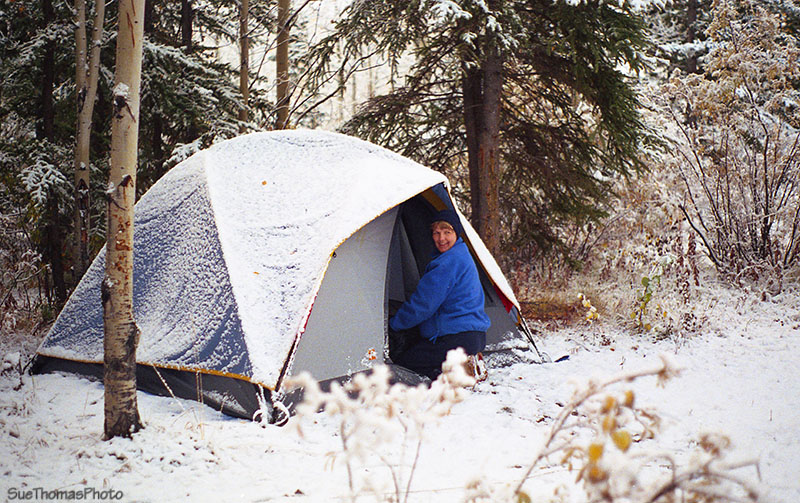 Camping in Snow, South Klondike Highway, Yukon