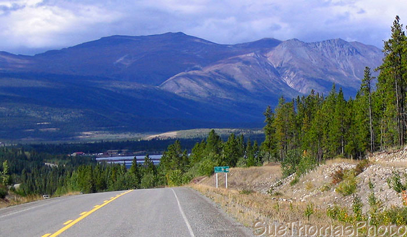 Northbound on the South Klondike Highway approaching Carcross