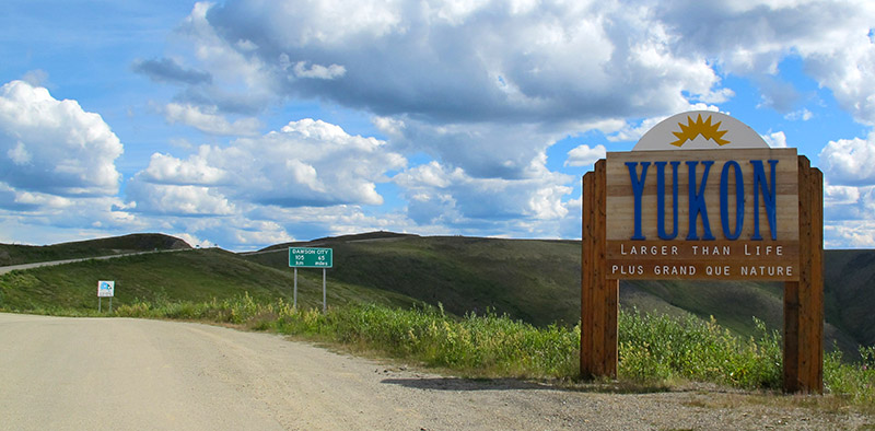 Yukon border on the Taylor Highway & Top of the World Highway