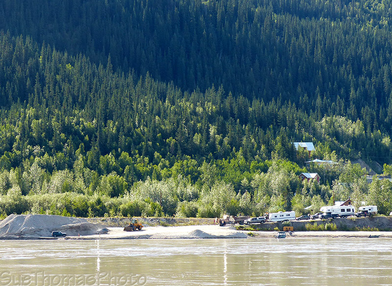 Waiting at the ferry in Dawson City