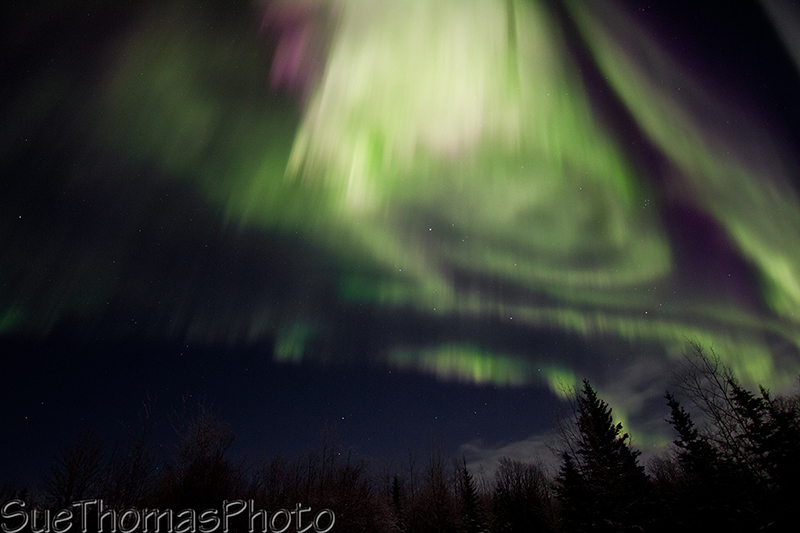 Overexposed northern lights