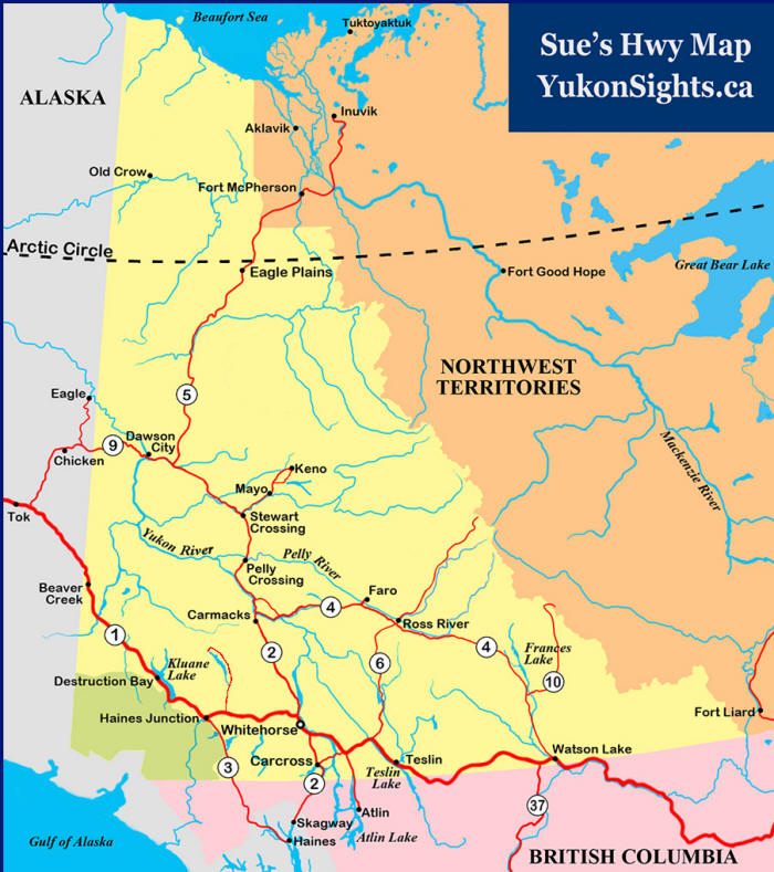 or click the road on this map yukon sights map
